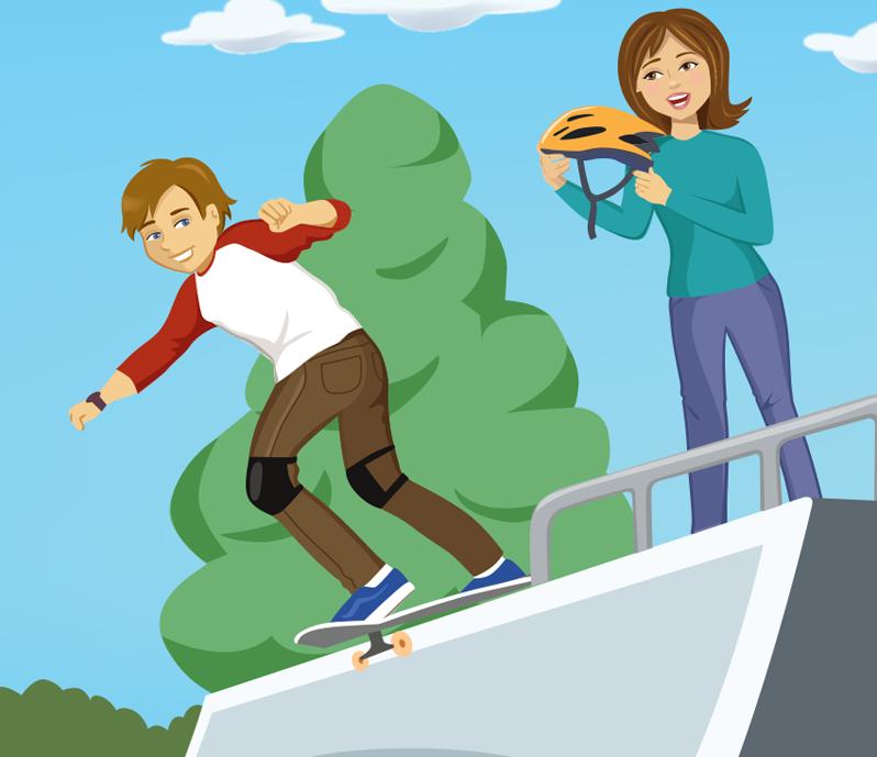 Skateboarding Teen